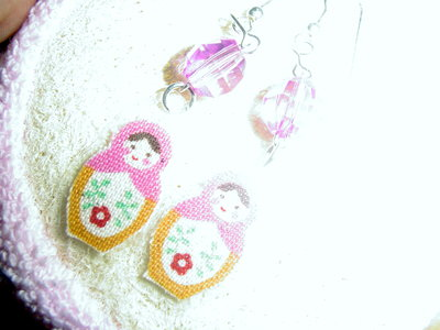 orecchini MATRIOSKA PINK - PINK EARRINGS MATRIOSKA DOLLS