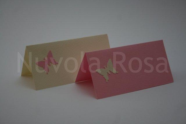 Segnaposto matrimonio rosa con farfalla