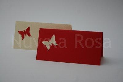 Segnaposto matrimonio rosso con farfalla