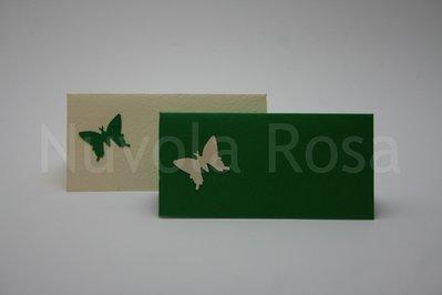 Segnaposto matrimonio verde con farfalla