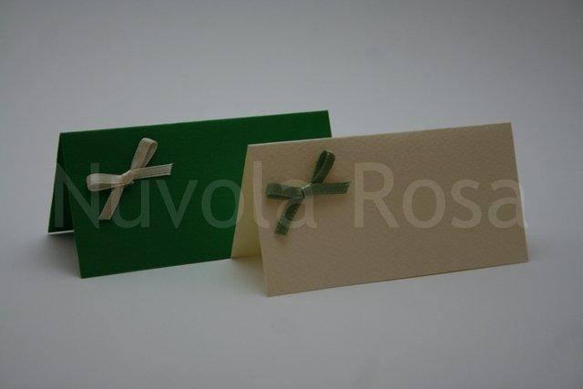 Segnaposto matrimonio verde con fiocchetto