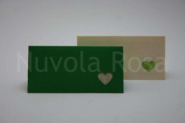 Segnaposto matrimonio verde con inserto cuore