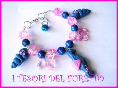 """Bracciale Estivo Cavalluccio marino serie """"Tutti al mareee!"""" Blu rosa"""
