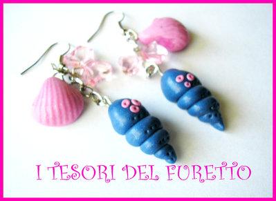 """Orecchini estivi Cavalluccio marino serie """"Tutti al mareee!"""" Blu rosa"""