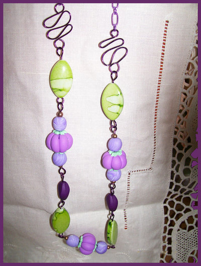 COLLANA LIME PURPLE POLYMER CLAY