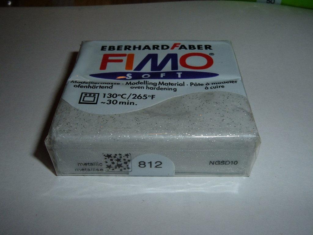 FIMO SOFT SILVER METALLIC N°812 BRILLANTINATO-GLITTERATO