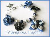 "Bracciale Farfalla Fimo Serie ""Butterfly Naif"" Estate 2011 Rosa Blu"