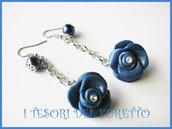 Orecchini Rose Blu Fimo cernti bijoux handmade Abbinabili al bracciale Butterfly Nai