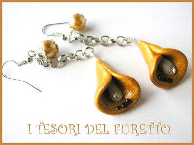Orecchini Calle oro Fimo cernti bijoux handmade Abbinabili al bracciale Butterfly Nai