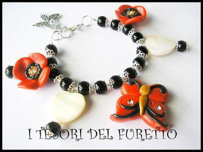 """Bracciale Farfalla Fimo Serie """"Butterfly Naif"""" Estate 2011 Papaveri rossi"""