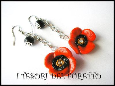 Orecchini Papaveri rossi Fimo cernti bijoux handmade Abbinabili al bracciale Butterfly Nai