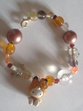 Bracciale ciondolo Hello Kitty e perline