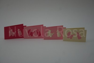 Bigliettino bomboniera battesimo rosa carrozzina e biberon