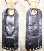 Portachiavi pelle nera personalizzato