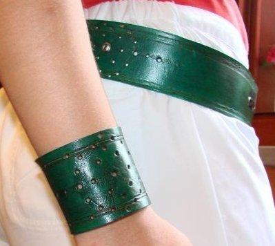 Bracciale in cuoio verde