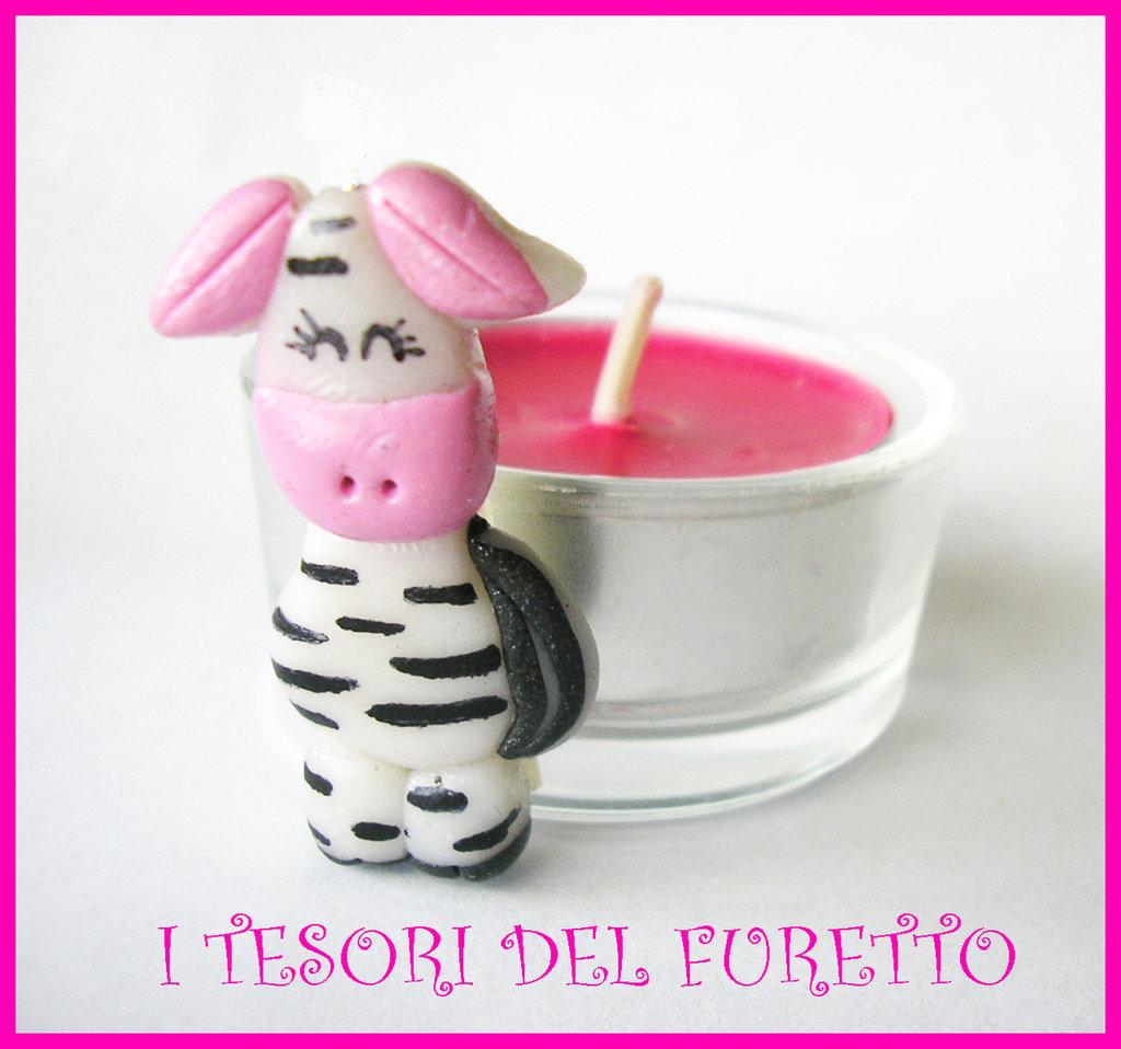 Bomboniera Nascita Portaconfetti Segnaposto Fimo Cernit Zebra
