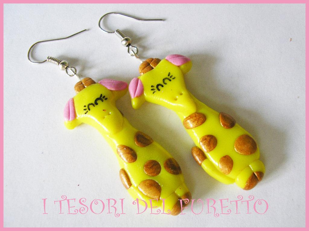 Orecchini Giraffa Fimo Kawaii Animaletti cernit