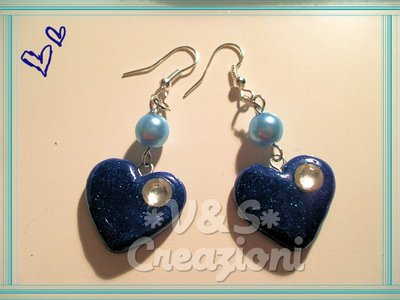 Orecchini Cuore Blu