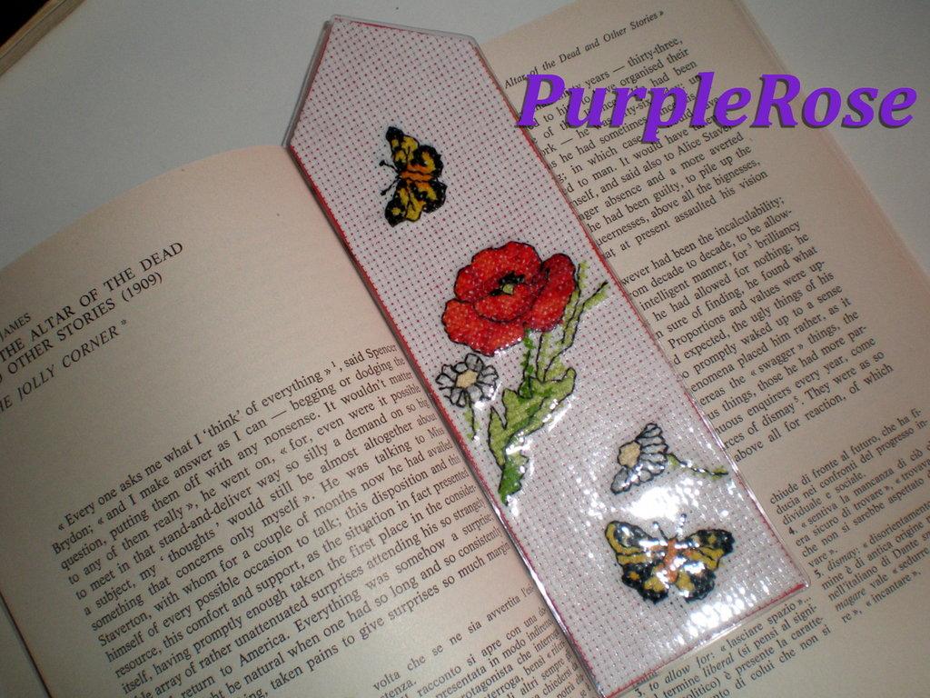 "Segnalibro punto croce #5 ""Papavero e farfalle"""