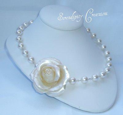 Collana Perle Bianche e Rosa Madreperlata