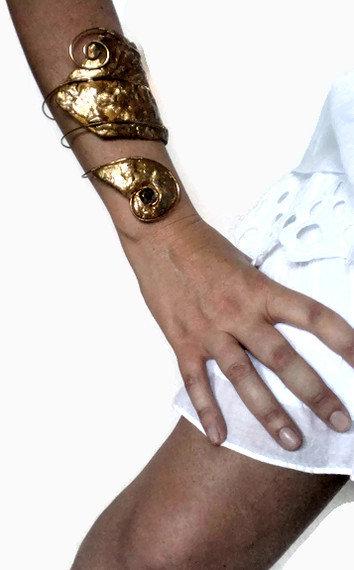 Etnic gold long slave bracelet