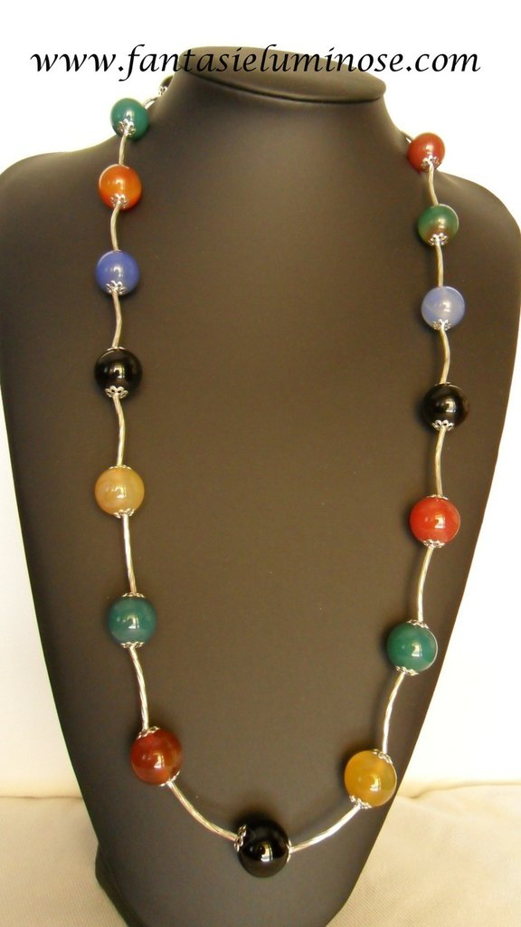 collana lunga pietre multicolor