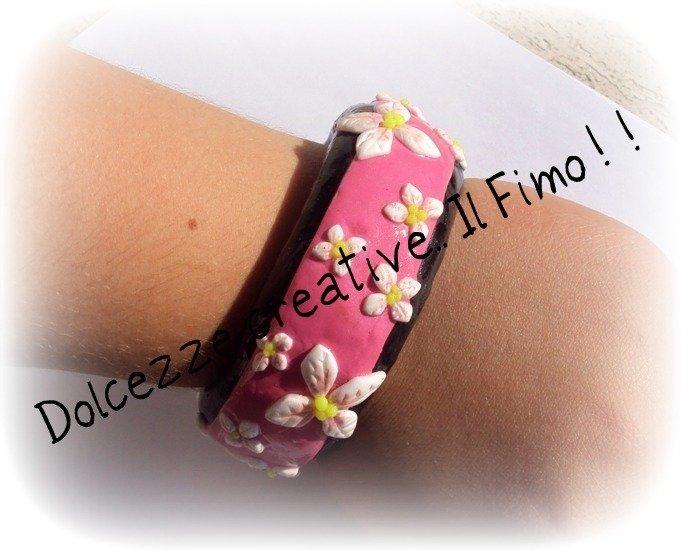 ★★SALDI Bangle Fiorito - Piccoli fiori bianchi su sfondo nero e rosa :) japan style