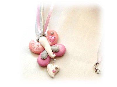 Collana farfalla pink fimo