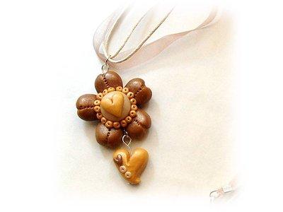 Collana fiore oro antico-fimo