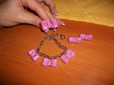 Coordinato fiocchi rosa in cernit