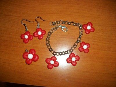 Coordinato fiori rossi in cernit