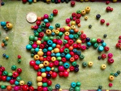 Lotto perline colorate in legno come in foto