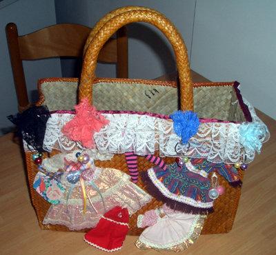 borsa di paglia rimodernata vestitini