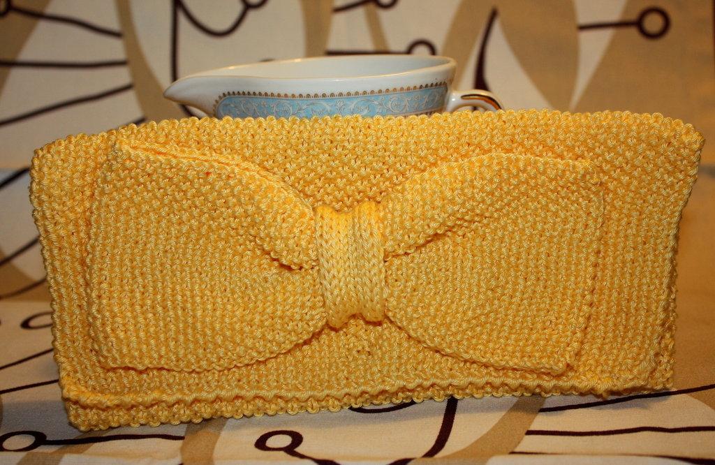 borsa pochette in cotone giallo con fiocco