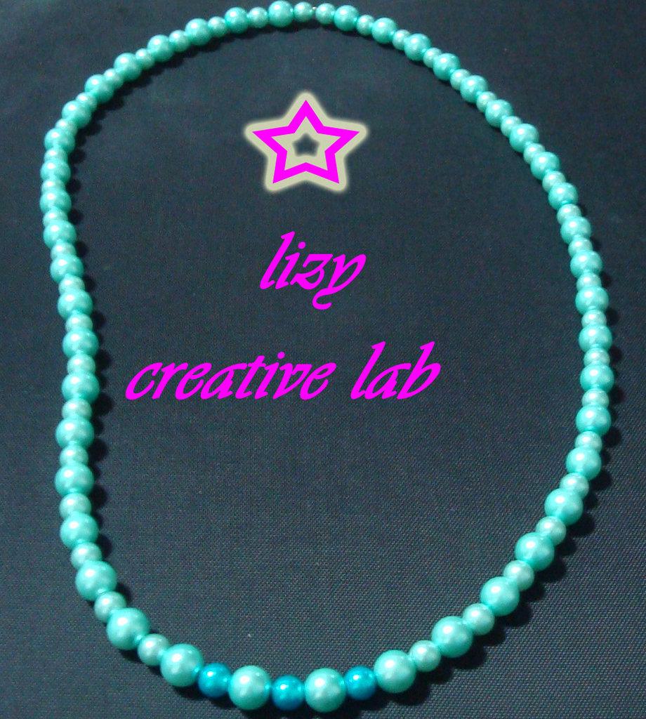 Collana perle celesti e azzurre