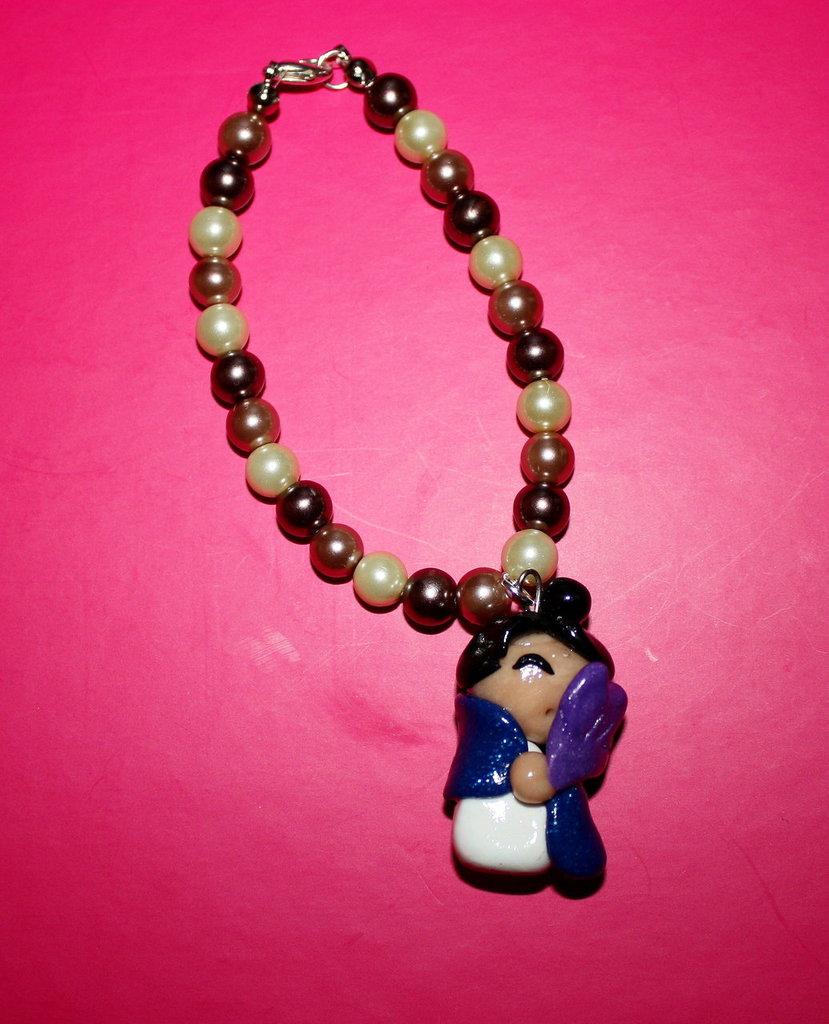 bracciale con perle e giapponese in fimo