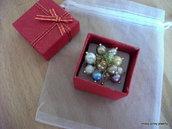 Anello Bolle di Sapone regolabile oro perle di fiume, cristalli, swarovsky