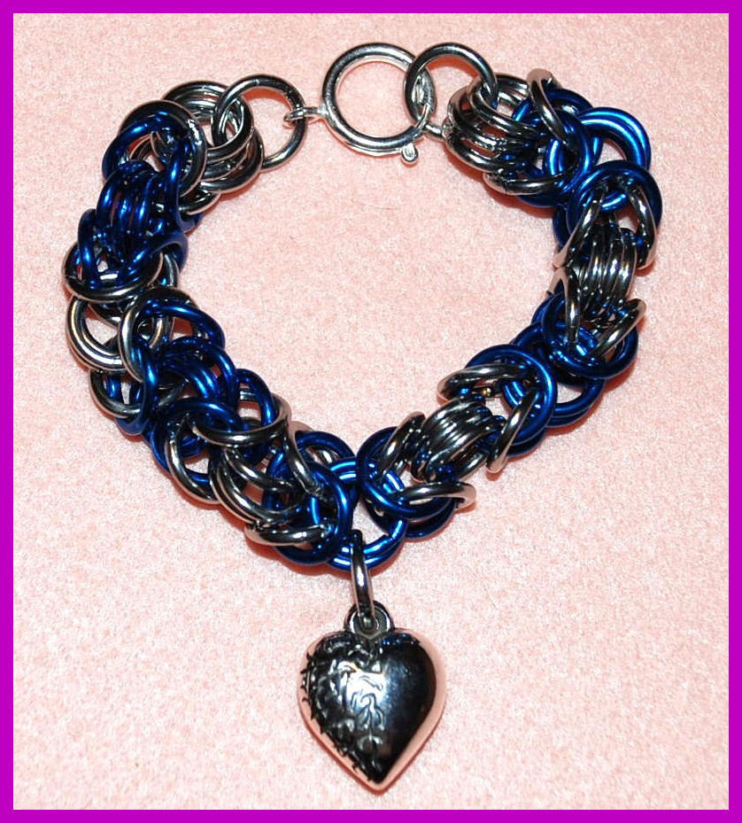 "Bracciale Chainmaille ""Blue heart"""