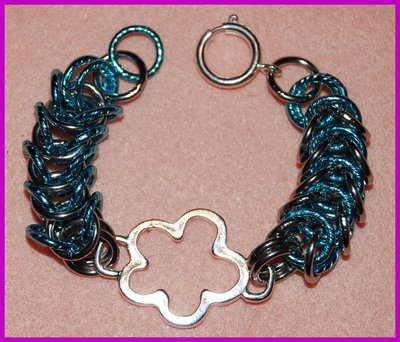 "Bracciale Chainmaille ""Silver flower"""