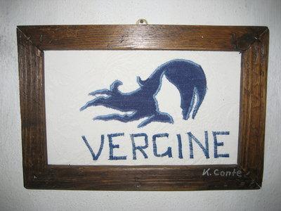 """Quadro in stoffa""""VERGINE"""" -fatto a mano, 32,5 x  21,5 cm"""
