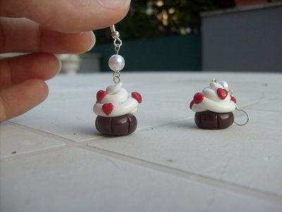 Orecchini Cupcake panna e cuori