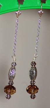 Orecchini per cristalloterapia con perle di quarzo fumè