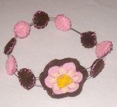 bracciale pannolenci con fiori