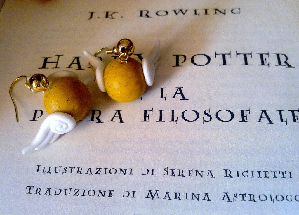 """Orecchini in Fimo """"Boccino D'Oro"""" Harry Potter"""