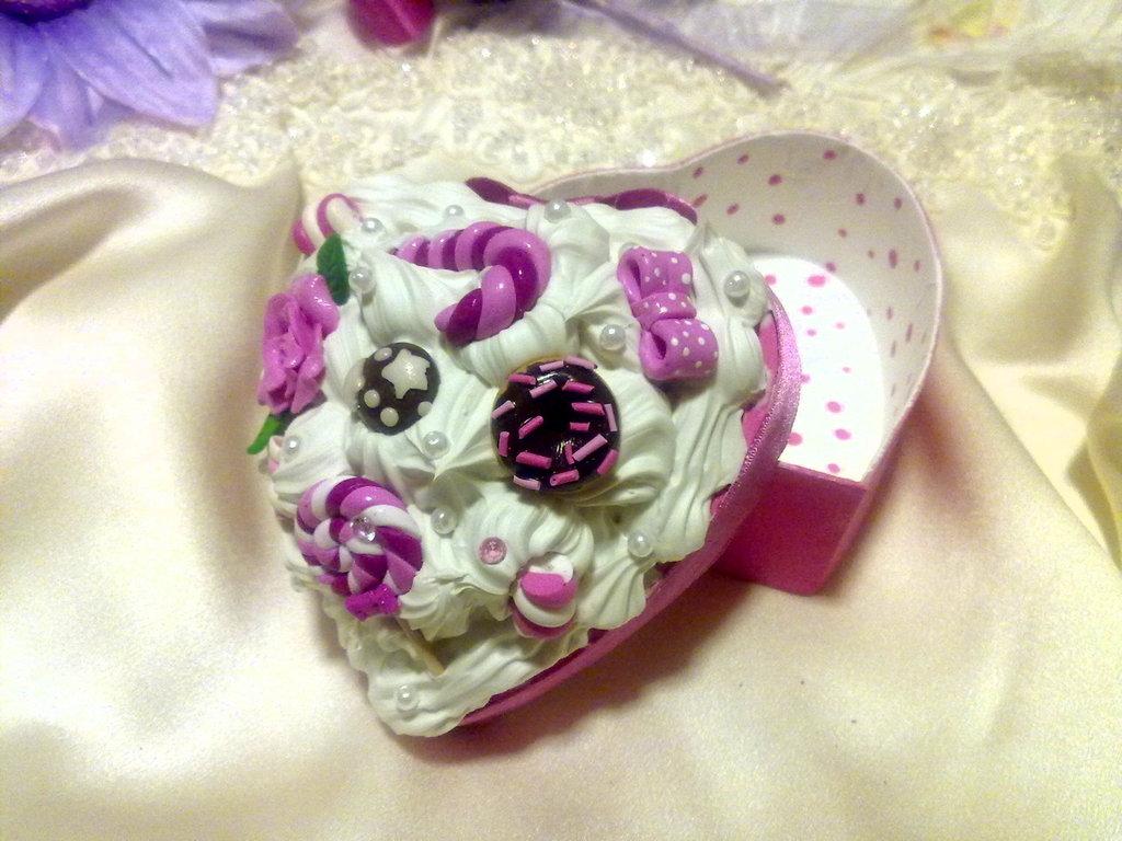 Scatola portagioie a forma di cuore rosa