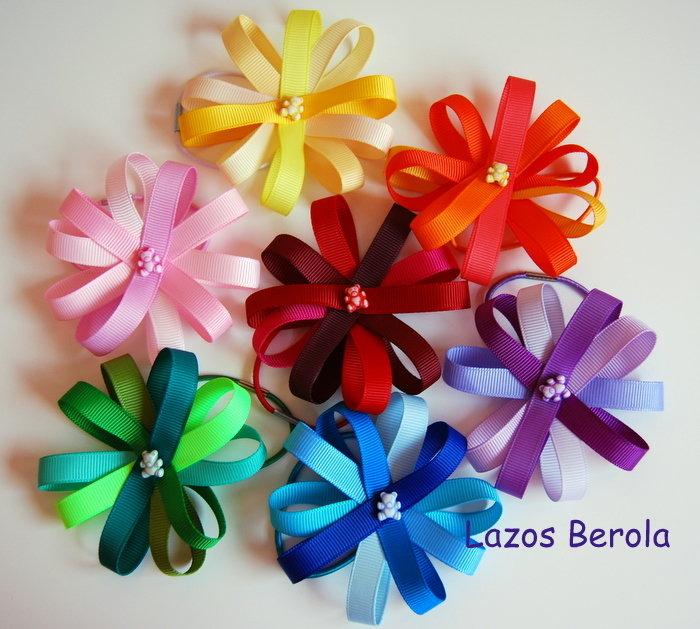 lazo de pelo para niña - flor de grosgrain - hair bow