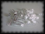 20 PZ Orecchini color argento c/piastra da incollare 6mm