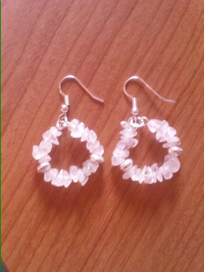 orecchini quarzo rosa