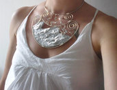 Etnic silver crystal collier