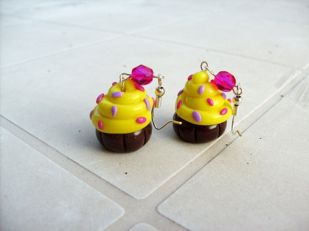 Orecchini cup cake giallo estate